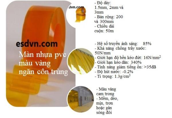 màn nhựa pvc màu vàng ngăn côn trùng